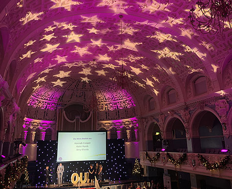 Stars gobo projection on Town Hall ceiling