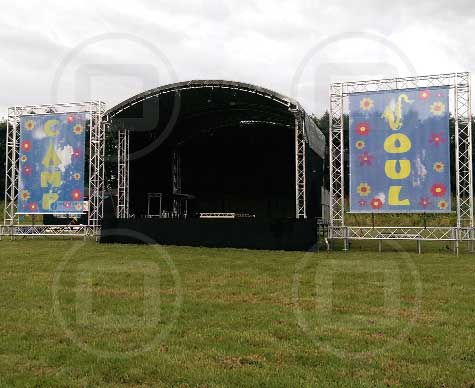 6m arc roof outdoor stage with PA wings.
